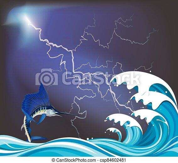 Blue Marlin fish leaping - csp84602481