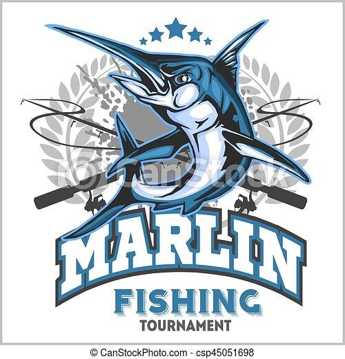 Blue marlin fishing logo illustration. Vector illustration. - csp45051698