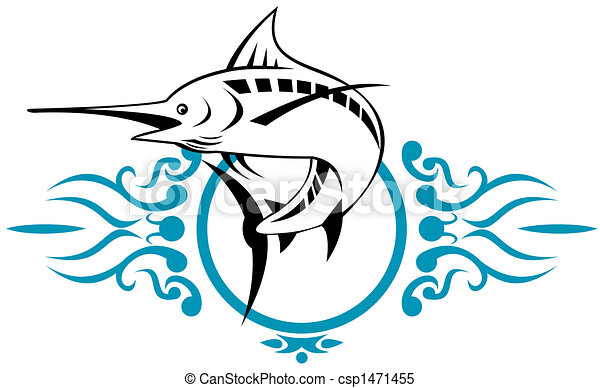 illustration of a blue marlin stock illustrations search clipart rh canstockphoto com swordfish outline clipart swordfish clipart