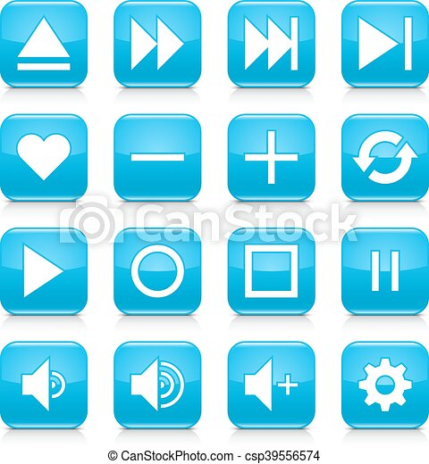 Blue media sign rounded square icon web button - csp39556574