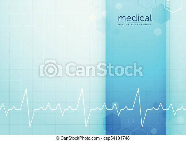 Heartbeat Line Art : Blue medical and science background with heartbeat line eps vector