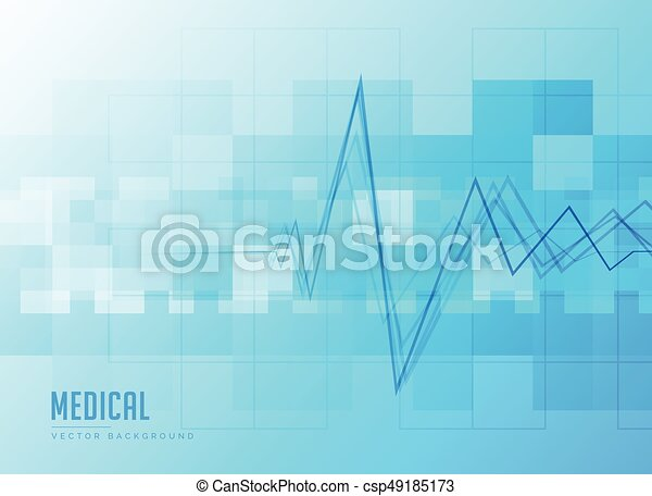 Heartbeat Line Art : Blue medical background with heartbeat line vectors illustration