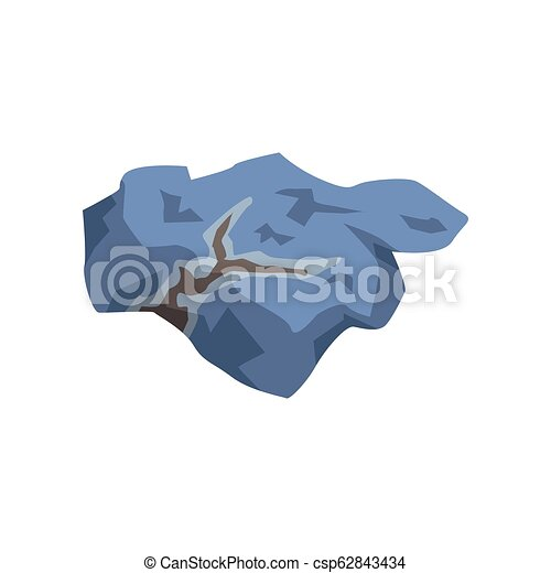 Blue mineral stone, geological industry element vector Illustration on a white background - csp62843434