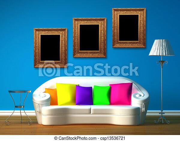 blue minimalist living room - csp13536721