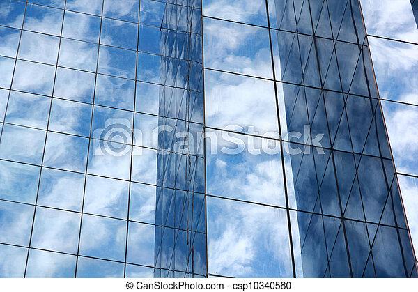 blue mirror glass building, exterior building - csp10340580
