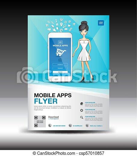 Blue Mobile Apps brochure flyer for boutique shop vector