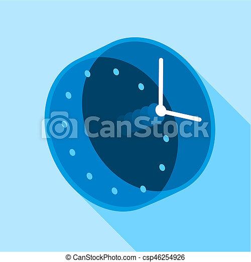 Blue modern clock icon, flat style - csp46254926