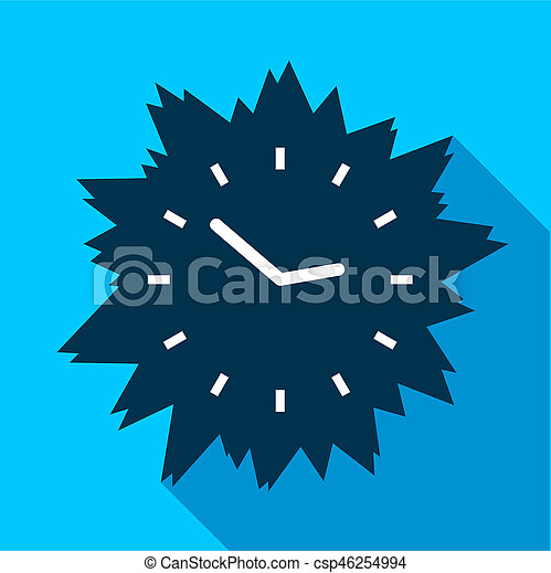 Blue modern clock without numbers icon, flat style - csp46254994