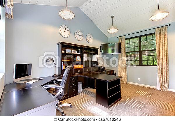 Interieur Maison Modern : Blue modern home office interior design with dark brown furniture.