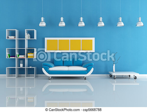 blue modern interior - csp5668788