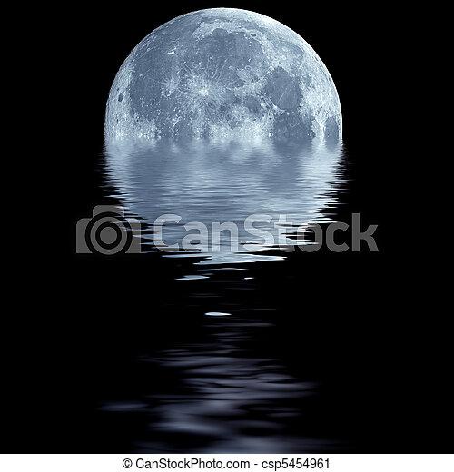 Blue moon over water - csp5454961