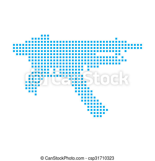 Blue Mosaic Icon Isolated on a White Background - MAchine Gun - csp31710323