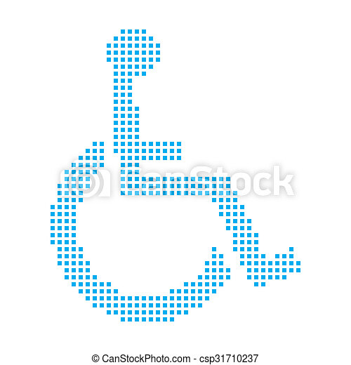 Blue Mosaic Icon Isolated on a White Background - Wheelchair - csp31710237