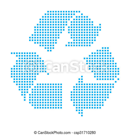 Blue Mosaic Icon Isolated on a White Background - Recycle - csp31710280