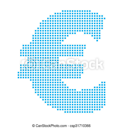 Blue Mosaic Icon Isolated on a White Background - Euro Sign - csp31710366