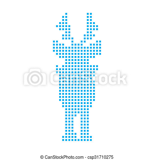 Blue Mosaic Icon Isolated on a White Background - Reindeer - csp31710275