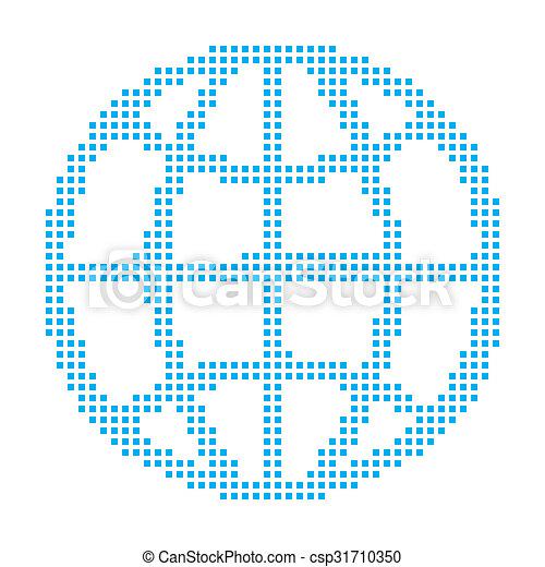 Blue Mosaic Icon Isolated on a White Background - Globe - csp31710350