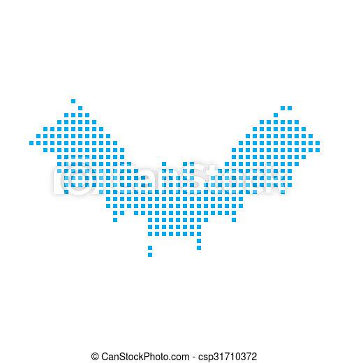 Blue Mosaic Icon Isolated on a White Background - Bat - csp31710372