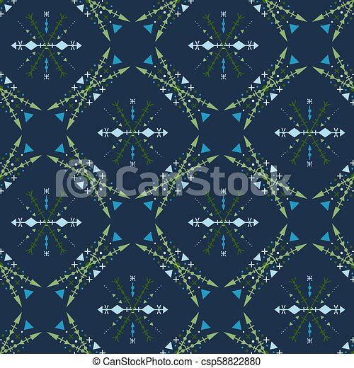 Blue mosaic seamless pattern in tribal style. - csp58822880