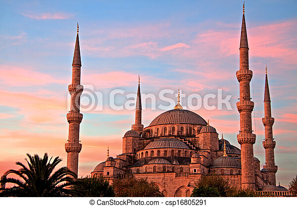 Blue Mosque at Sunrise, Istanbul - csp16805291
