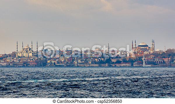 Blue Mosque, Hagia Sophia and Topkapi Palace. Popular Places in Istanbul - csp52356850