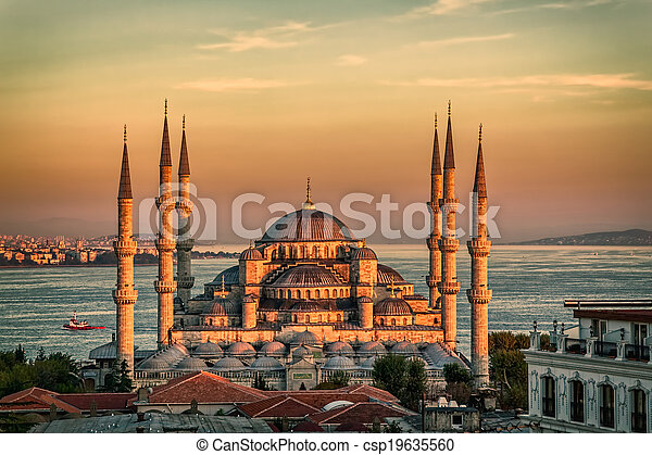 Blue mosque in Istanbul - sunset - csp19635560