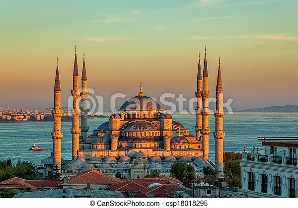 Blue mosque in Istanbul - sunset - csp18018295