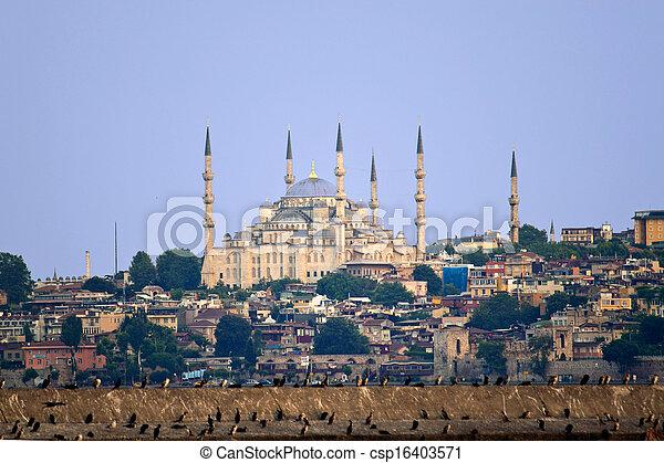 Blue mosque in Istanbul, Turkey - csp16403571