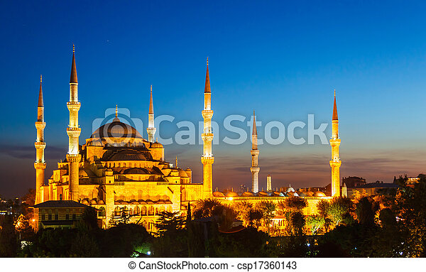 Blue Mosque in Istanbul, with sunset - csp17360143