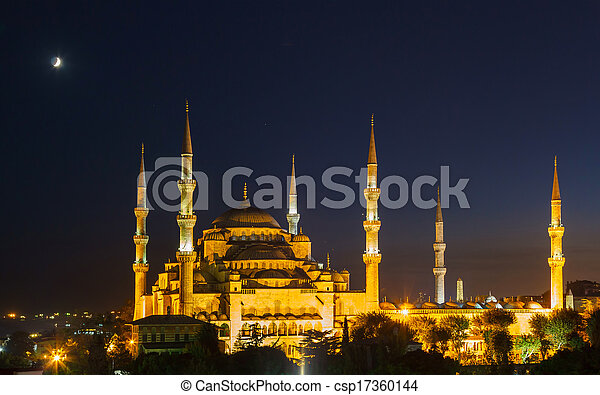 Blue Mosque in Istanbul, with sunset - csp17360144