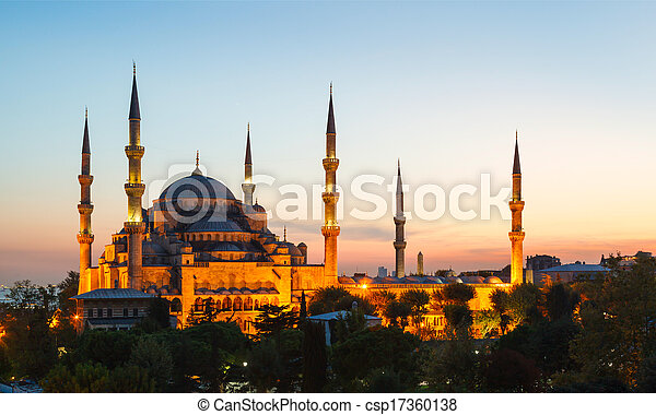 Blue Mosque in Istanbul, with sunset - csp17360138