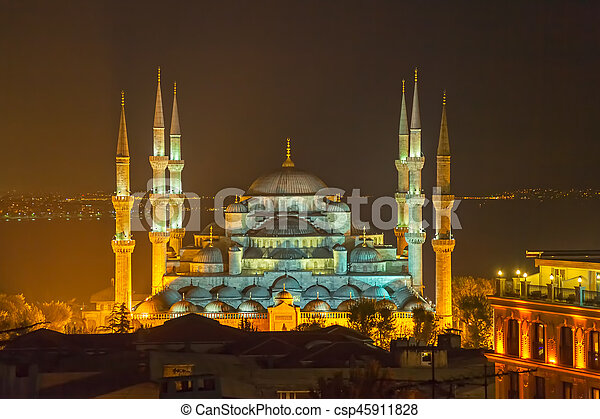 Blue mosque Istanbul by night - csp45911828