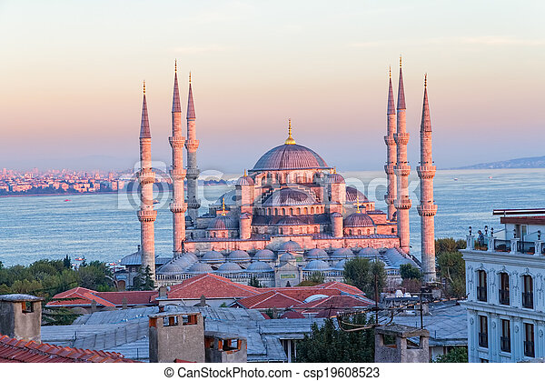 Blue mosque Istanbul sunset - csp19608523