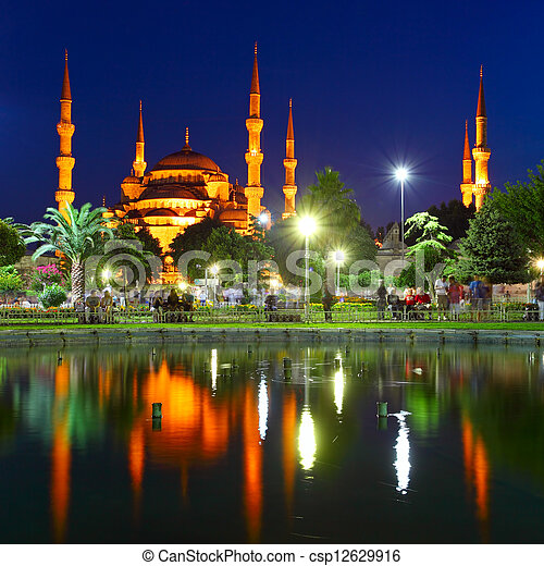 Blue Mosque with reflection - Istanbul - csp12629916