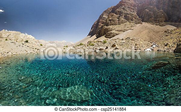 blue mountain lake at sunrise - csp25141884