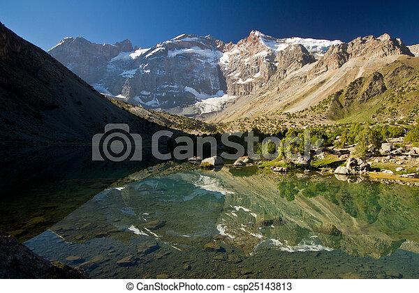 blue mountain lake reflects high rocks - csp25143813
