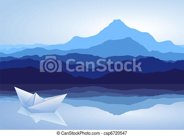 Blue mountains, lake and paper ship - csp6720547