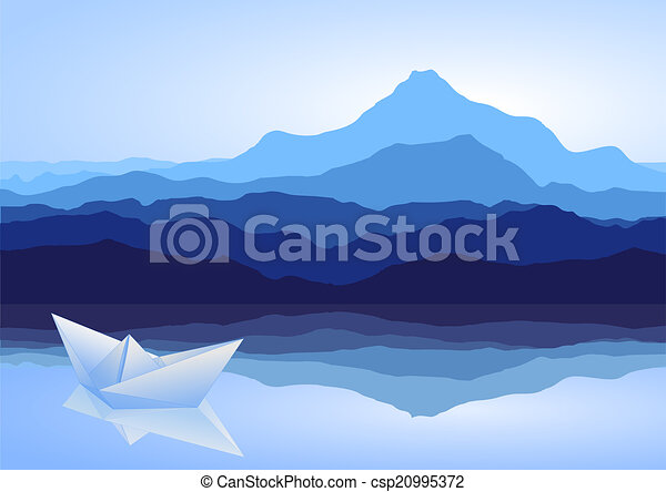 Blue mountains, lake and paper ship - csp20995372