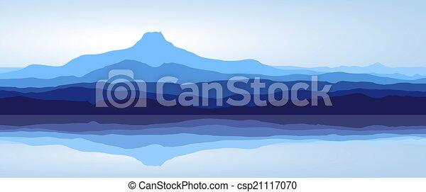 Blue mountains with lake - panorama - csp21117070