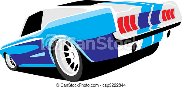 vectorial image of blue muscle car.