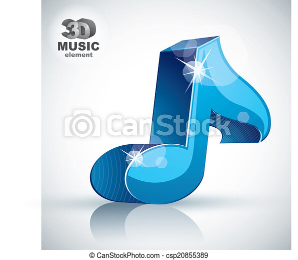 Blue musical note 3d modern icon isolated. - csp20855389