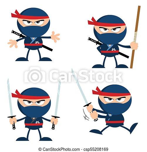 blue ninja warrior cartoon character with weapons flat design rh canstockphoto com warrior clipart free clipart warrior girl