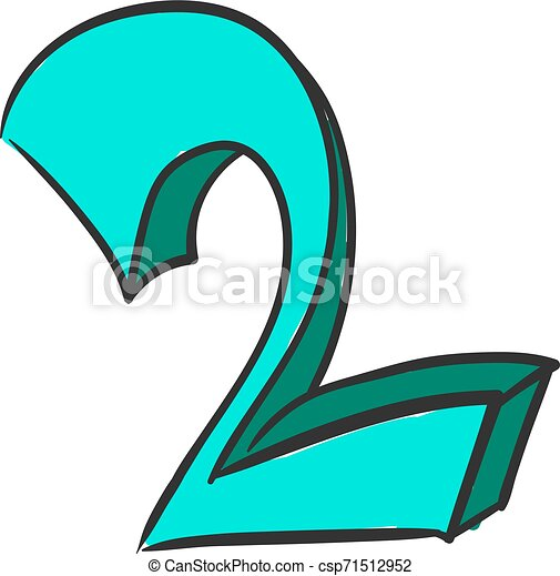 Blue number two, illustration, vector on white background. - csp71512952