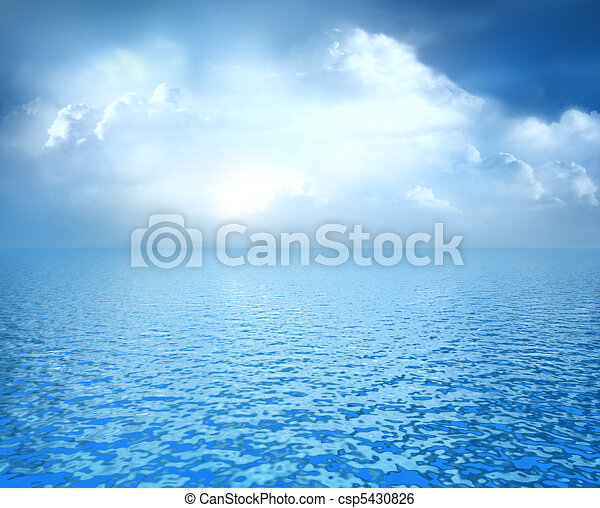 Blue ocean with white clouds - csp5430826