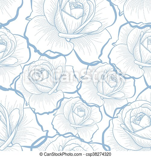 Blue outline roses on white seamless pattern - csp38274320
