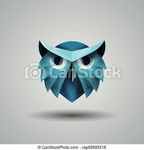 Blue owl with a halftone texture. Owl logo template for the business card, branding and corporate identity.