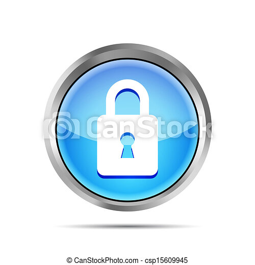 blue padlock icon on a white background - csp15609945