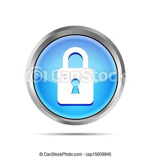 blue padlock icon on a white background - csp15609945