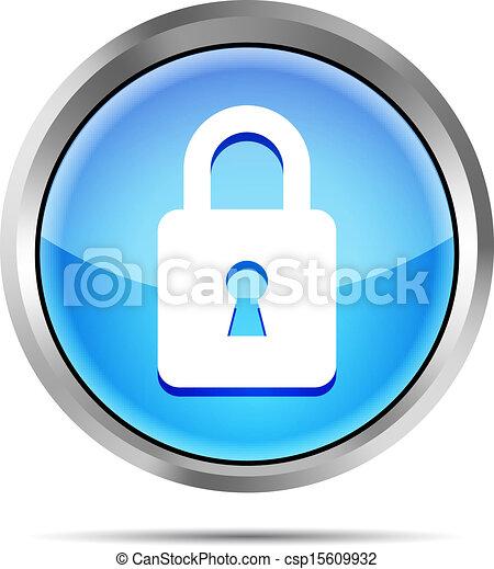 blue padlock icon on a white - csp15609932