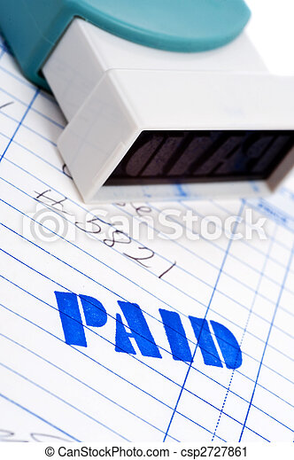 Blue paid stamp with an invoice on white - csp2727861